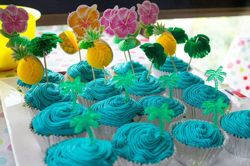 Duke's First Birthday - Hawaiian Party - Cupcakes