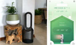 Dyson Pure Hot+Cool™ Link unit in use in a living are plus shot of app screenshot
