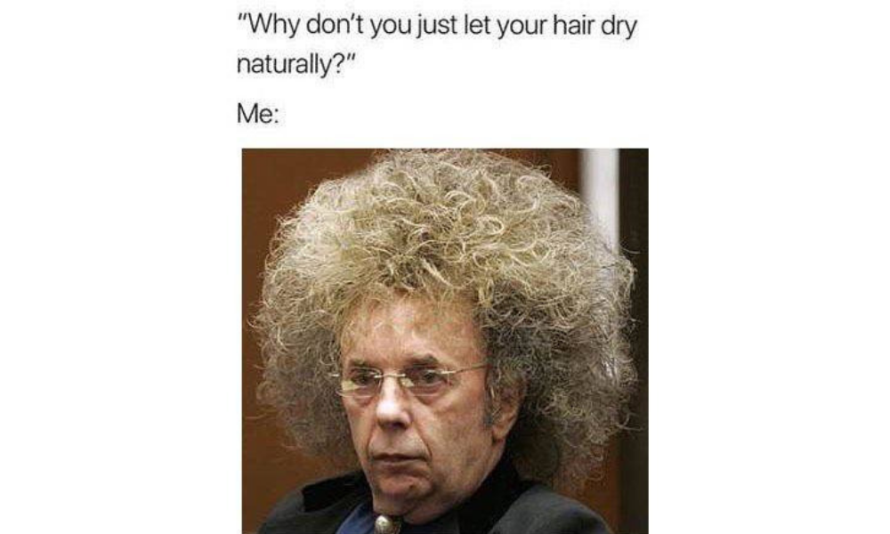 Funny meme featuring man with frizzy hair