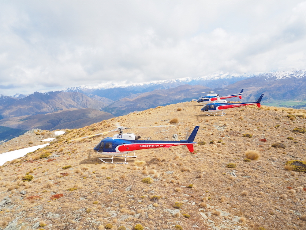 Helicopters parked on top of Remarkables Queenstown Photography
